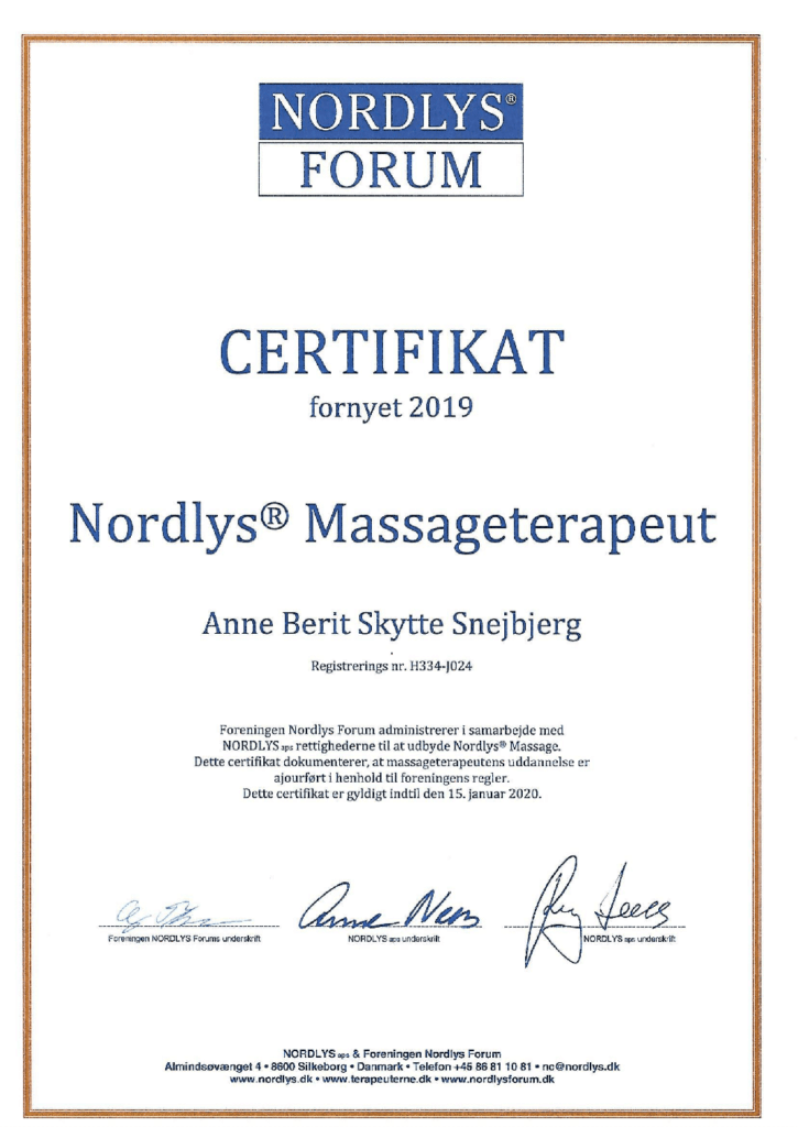 Nordlys Certifikat Massageterapeut